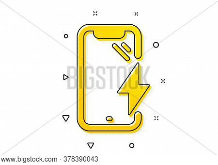 Phone Charge Sign. Smartphone Charging Icon. Mobile Device Energy Symbol. Yellow Circles Pattern. Cl