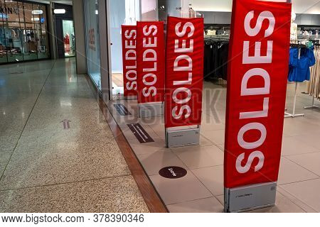 Cagnes-sur-mer, France. 26.07.2020 Sales In Hypermarket. Modern For Marketing Promotion Design. Stor
