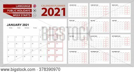 Wall Calendar Planner 2021 In English, Week Starts In Monday. Vector Planner.
