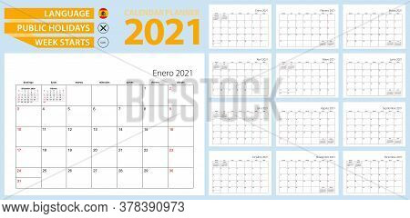 Spanish Calendar Planner For 2021. Spanish Language, Week Starts From Sunday. Vector Template.