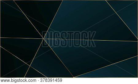 Blue Luxury Triangular Texture. Gold Lines Polygon Premium Frame. Vip Rich Silver Geometric Celebrat