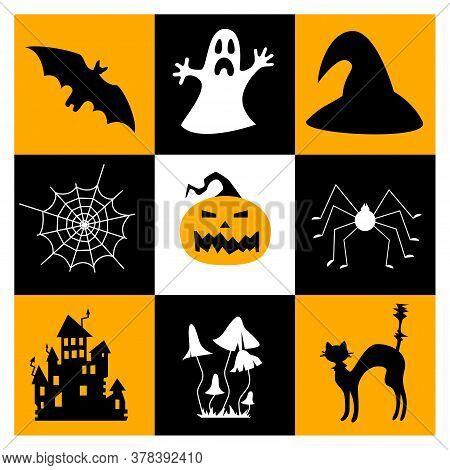 Halloween Symbols Collection. Set Of 9 Halloween Elements. Bat, Ghost, Magic Hat, Cobweb, Scary Pump