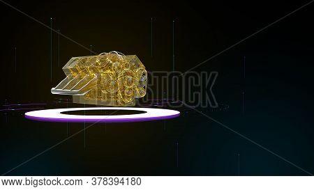 Glowing Neon Glass Engine On Lfhr Backgound In Cyberspace. Hi Tech Smart Car, Motor Diagnostics Serv