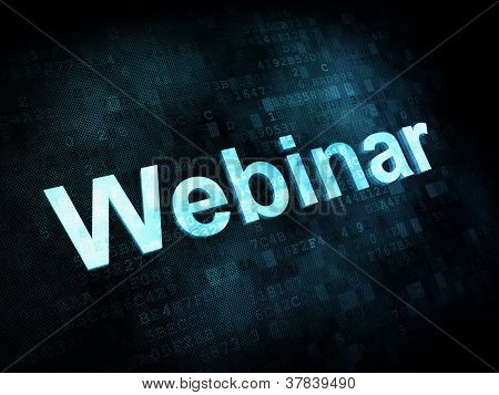 Information technology IT concept: pixelated words Webinar on di