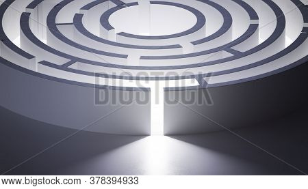 Circular Rounded Maze Or Labyrinth. 3d Rendered Illustration.
