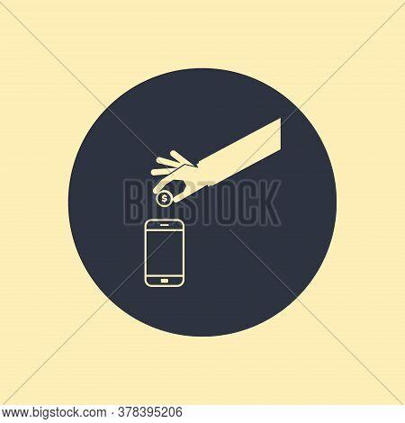 Mobile Transactions Money Dollar Phone Smartphine Icon. Vector Symbol On Round Background