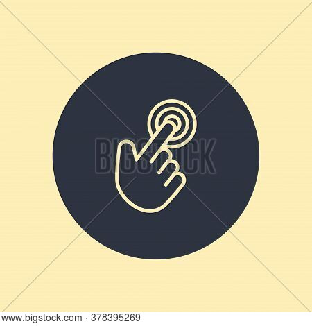 Vector Click Hand Icon Symbol In Flat Design On Round Background