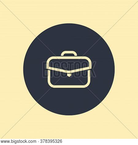 Briefcase Icon. Vector Symbol In Flatstyle On Round Background