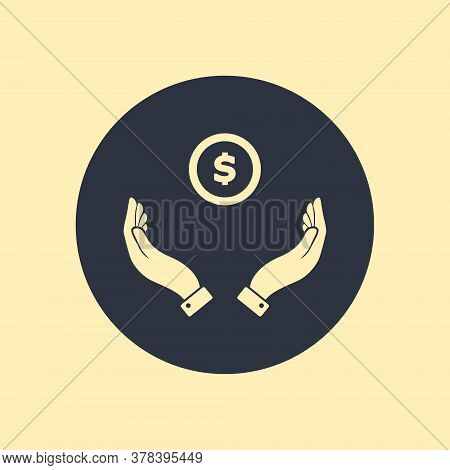 Hands Giving Receiving Money In Flat Icon On Round Background