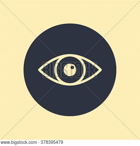 Eye Icon - Vector Symbol In Flat Design On Round Background