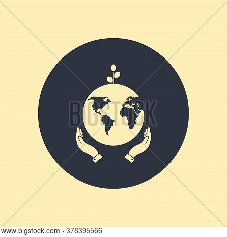 Hands Holding Globe Earth Web Black Icon. Save Earth Concept Vector Illustration