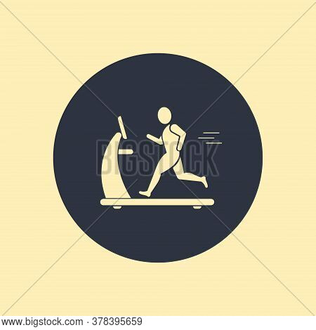 Man On Treadmill Icon. Vector Symbol In Flat Style On Round Background
