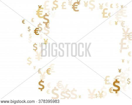 Euro Dollar Pound Yen Gold Signs Scatter Currency Vector Illustration. Investment Backdrop. Currency