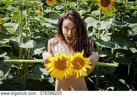 Summer Time. Photo Of Beautiful Nude Woman 20s With Long Hair Surprised And Holding Yellow Sunflower
