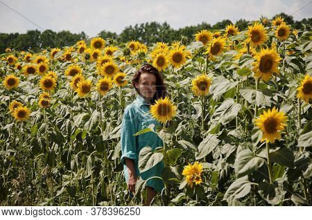 Woman In Sunflowers Field. Portrait Of Young Beautiful Girl In Field Of Sunflowers Field. Portrait O