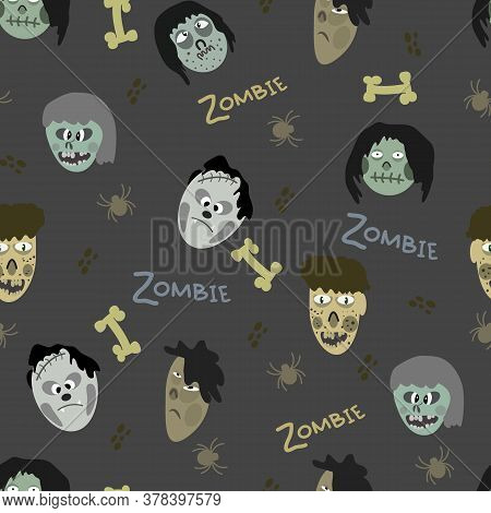 Attern Of Images Of Zombies And Various Elements On A Gray Background