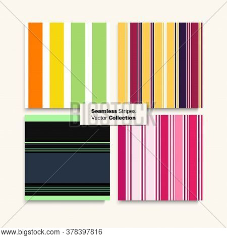 Sailor Stripes Seamless Design Set. Funky Fashion Background Autumn Summer Vintage Fashion Print. Sw