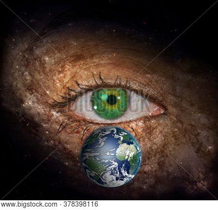 Surrealism. Woman's eye with galaxies. 3D rendering