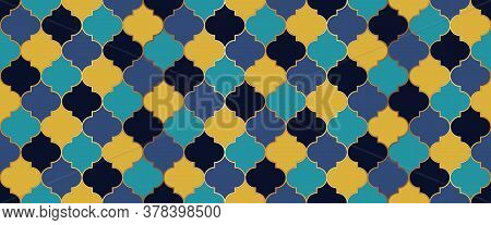 Seamless Moroccan Mosaic Ornament. Moroccan Seamless Pattern Iranian Mosque Window Grid. Ramadan Kar
