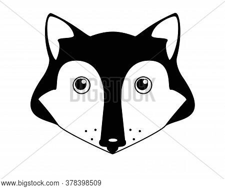 Cute Fox - Vector Black And White Illustration. Fox Head - Cute Picture, Baby, Smile.