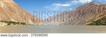 Panj River And Pamir Mountains Panoramic View. Panj Is Upper Part Of Amu Darya River. Tajikistan And