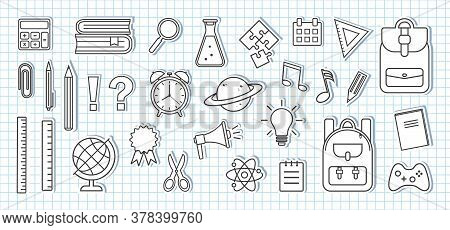 School Supplies Icons. Paper Stickers On Sheet Of School Checkered Notebook. Black And White Design.