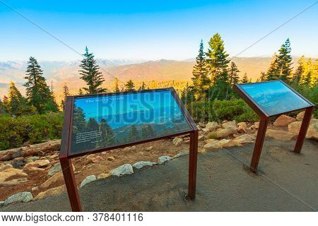 Kings Canyon National Park, California, United States - August 10, 2019: Sunset Panorama On Top Of K