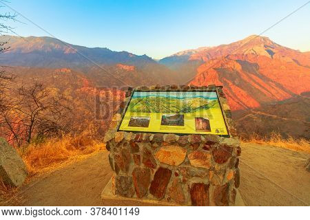 Kings Canyon National Park, California, United States - August 10, 2019: Kings River Canyon Sunset P