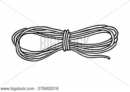A Climbing Rope For Camping Doodle Hand Drawn Black Isolated Icon. A String For Hiking, Local Touris