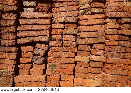 Neatly Arranged Piles Of Brick, Red Brick For Building Houses