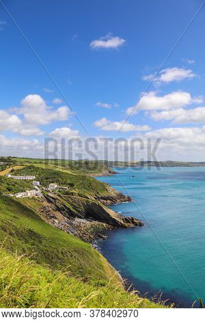 Scenic Landscape Of The South West Coast Of The Roseland Peninsula In Portloe, Veryan In Cornwall