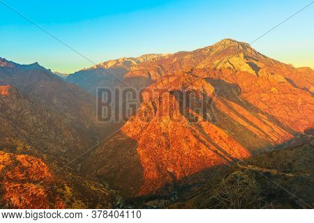 Kings River Canyon Sunset Panorama On Top Of Sierra Nevada And Sequoia National Forest. Kings Canyon