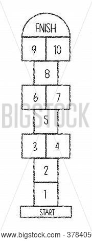 Hopscotch Game Symbol Of Childhood. Childrens Game Drawn With Chalks.playground With Numbers.isolate