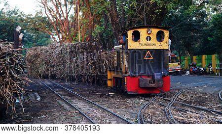 Yogyakarta, Indonesia - July 27, 2020: Sugar Cane Carriage Is Ready To Be Taken To Madukismo Sugar F