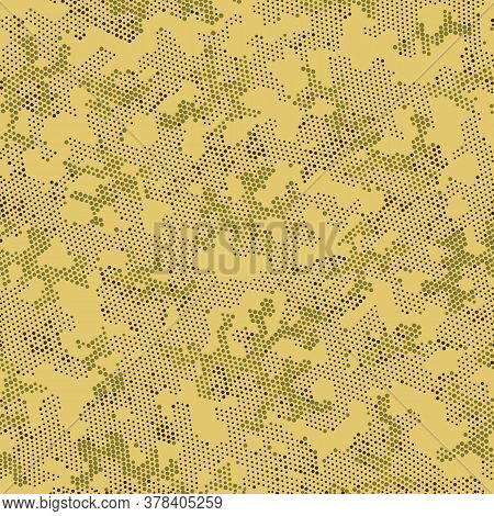 Khaki Repeated Monochrome Camouflage, Vector Camouflage.  Seamless Graphic Brown Circle, Camo Backdr