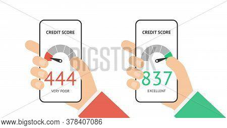 Credit Score Scale Concept Flat Vector Illustration