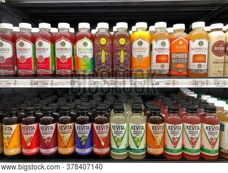 San Leandro, Ca - July 8, 2020: Grocery Store Shelves With Bottles Of Kevita Kombucha And Sparlking