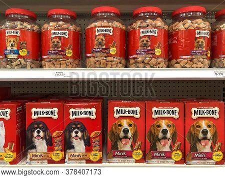 Alameda, Ca - July 19, 2020: Grocery Store Shelf With Boxes Of Milk Bone Brand Dog Treats. Variety O