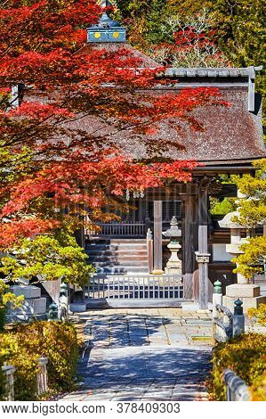 Japan Travel Destinations. Traditional Buddhism Shrine On Koyasan Mountain In Japan In Fall Season.p