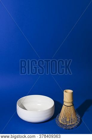 Tea Whisk Matches With White Ceramic Bowl. Ingredients For Making A Traditional Japanese Drink. Heal