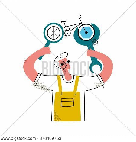 Vector Flat Illustration With Happy Worker Who Fixes Bicycle Using Abstract Wrench, Performs Diagnos