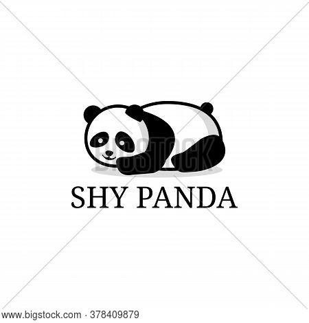 Shy Panda Cartoon Logo Designs Vector, Lazy Panda Animal Care Vector Design Template