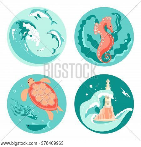 Set Of Social Media Story Highlight Icons In Sea Stile. Underwater Scene With Beautiful Sea Turtle,