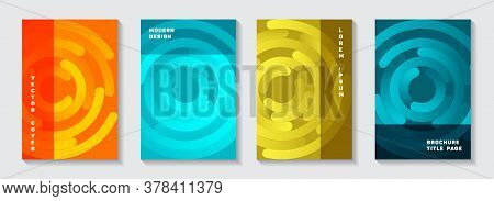 Business Catalog Title Pages Collection. Modern Banner Circles Spiral Motion Vector Backgrounds. Aim