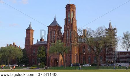 Smithsonian Institution Under Construction On A Beautiful Spring Day