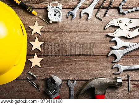 Happy Holiday Labor Day, Different Kinds Wrenches On Wooden Desk Table. First Monday In September, C