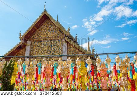 Traditional Paper Lanterns Hanging On The Rows In Front Of Wat Phra That Hariphunchai, Lamphun Provi