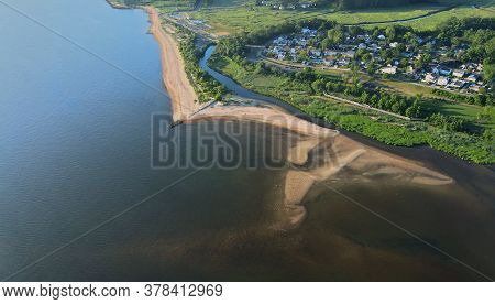 Neighborhood Between Suburban Bay Area On Aerial View Point Drone Of Bay Nj Us
