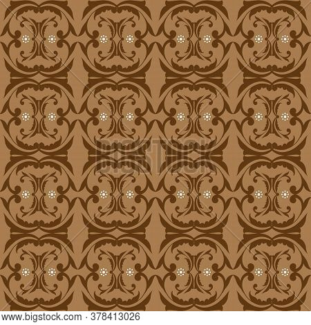 Beautiful Batik Flower Patterns As A Traditional Indonesian Clothes With Brown Color Design.