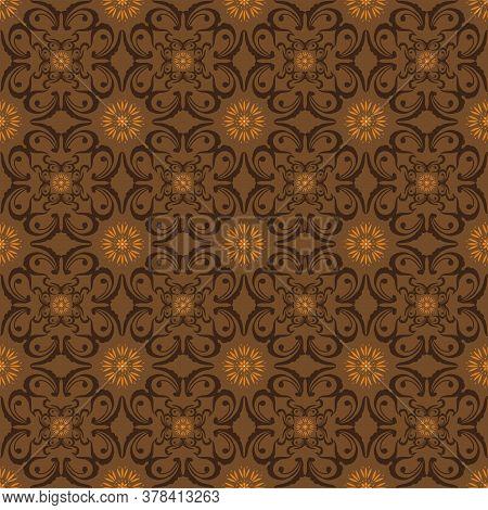 Beautiful Flower Pattern On Central Java Batik With Simple Dark Brown Color Design.